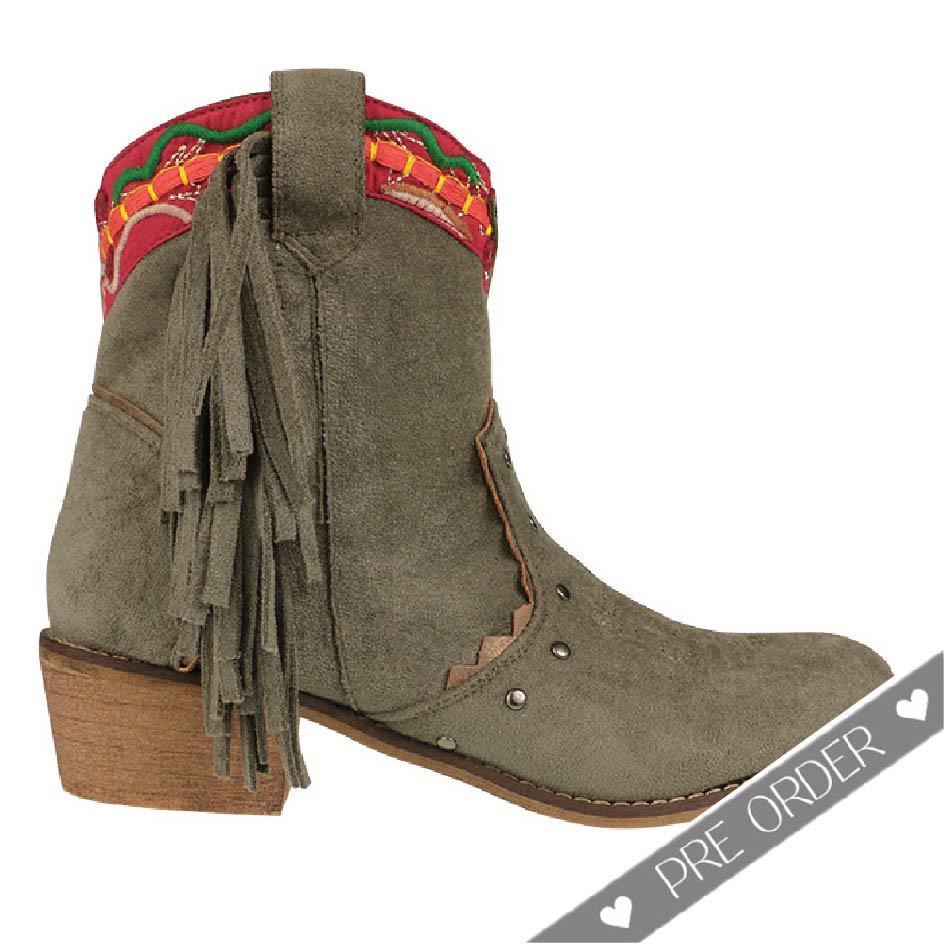 PRE ORDER - Ibiza Fringe Boots - Kaki