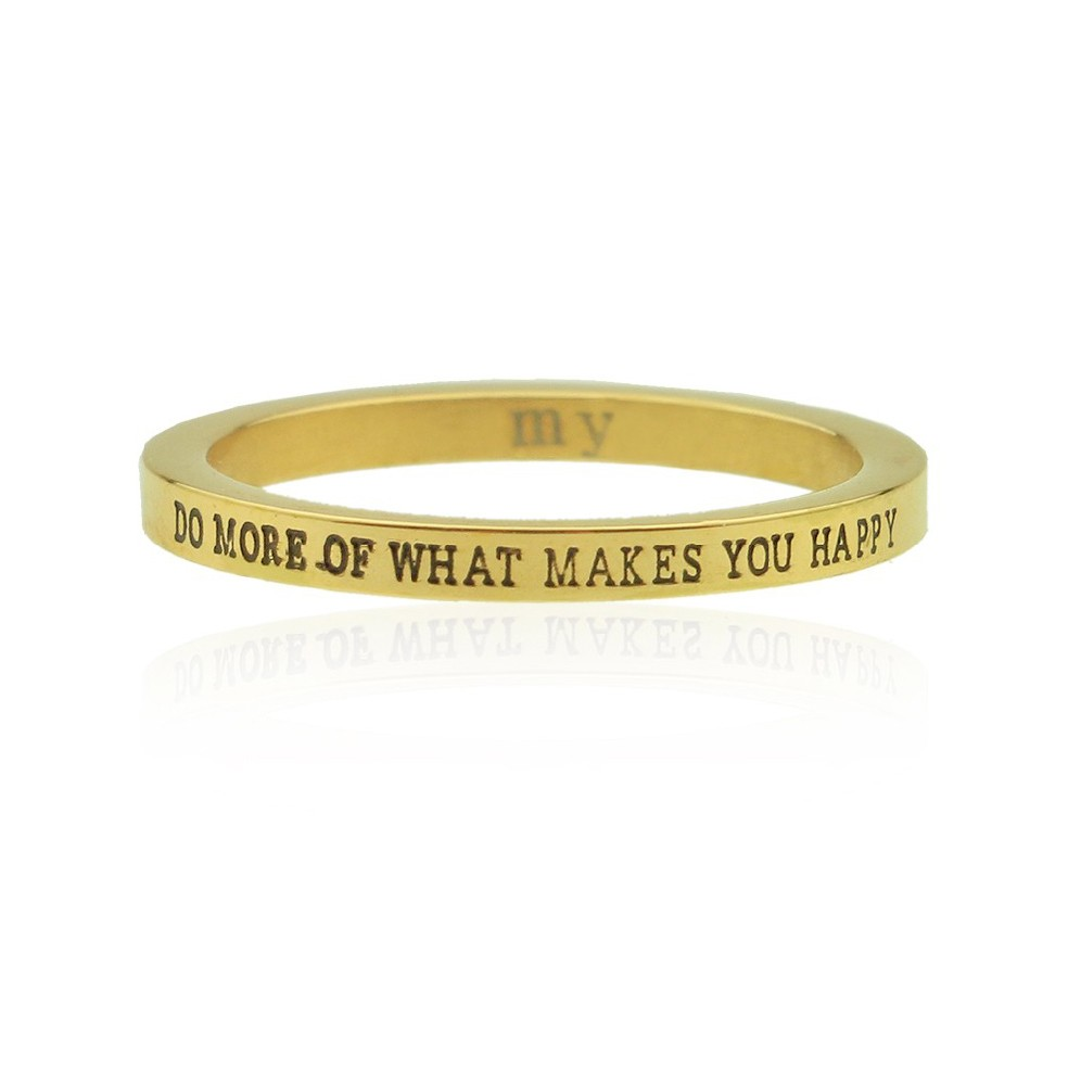 Gold Quote Ring - Do More Of What Makes You Happy