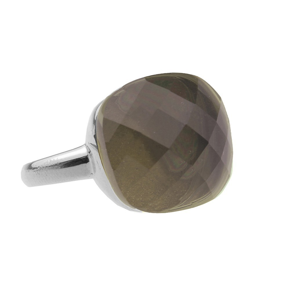 Square Gem Taupe - Silver