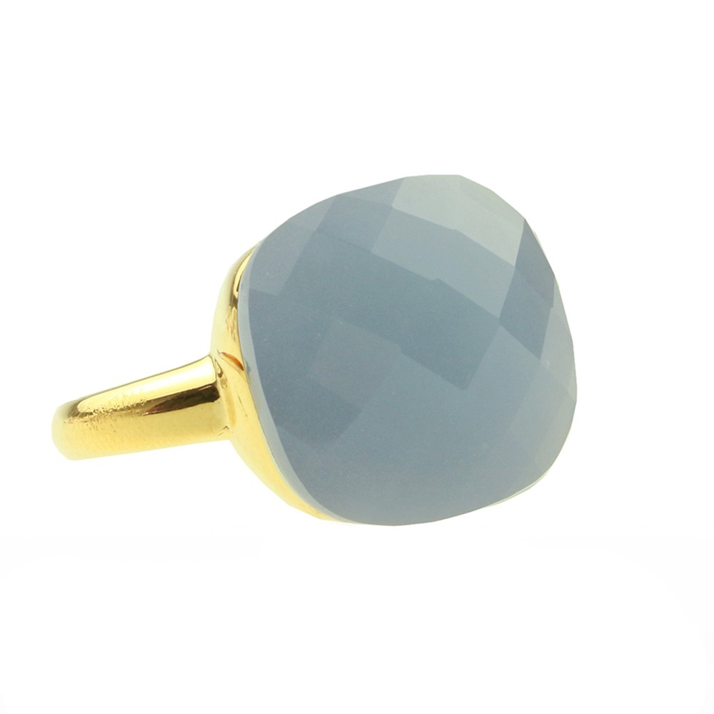 Square Gem Light Blue - Gold