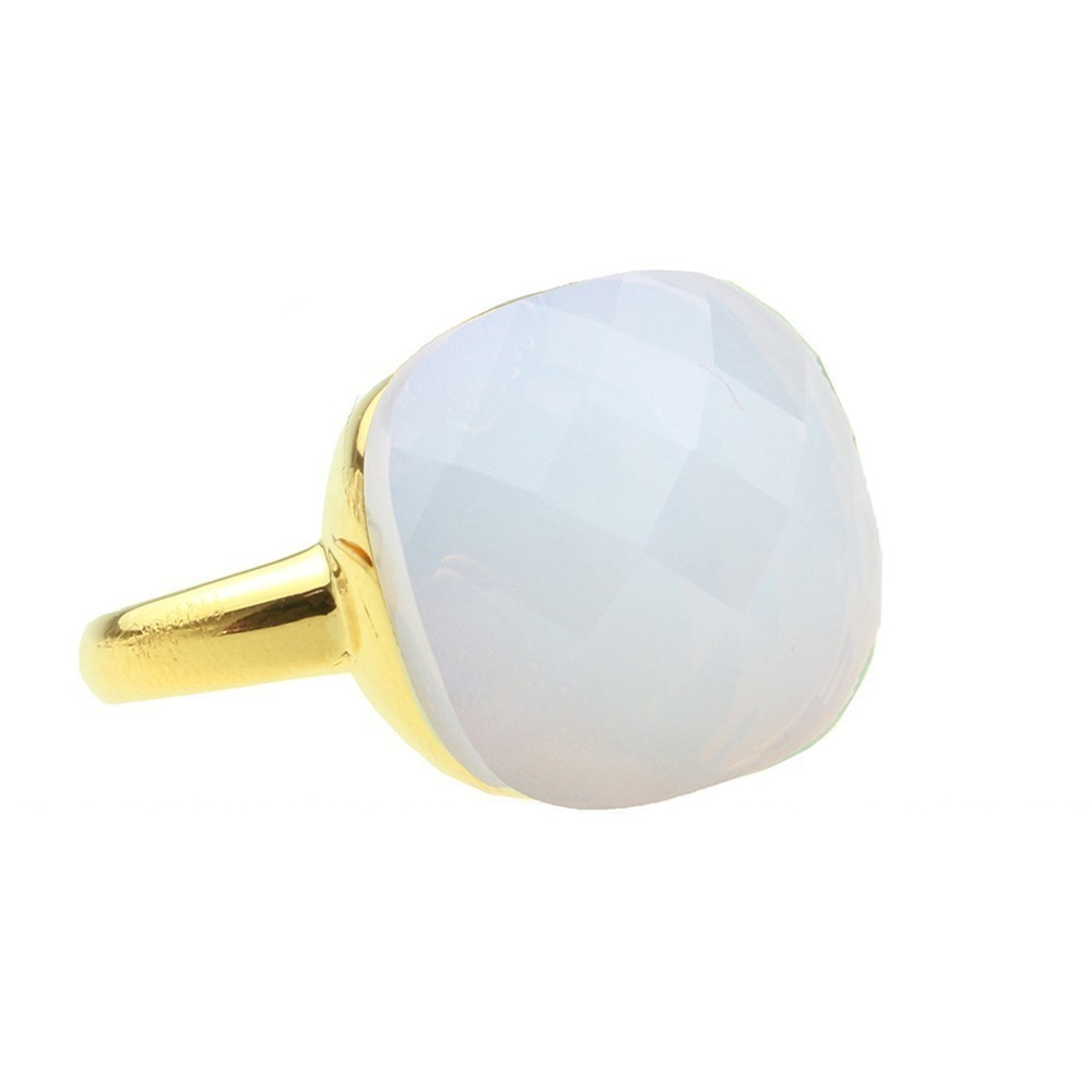 Square Gem Opalite - Gold