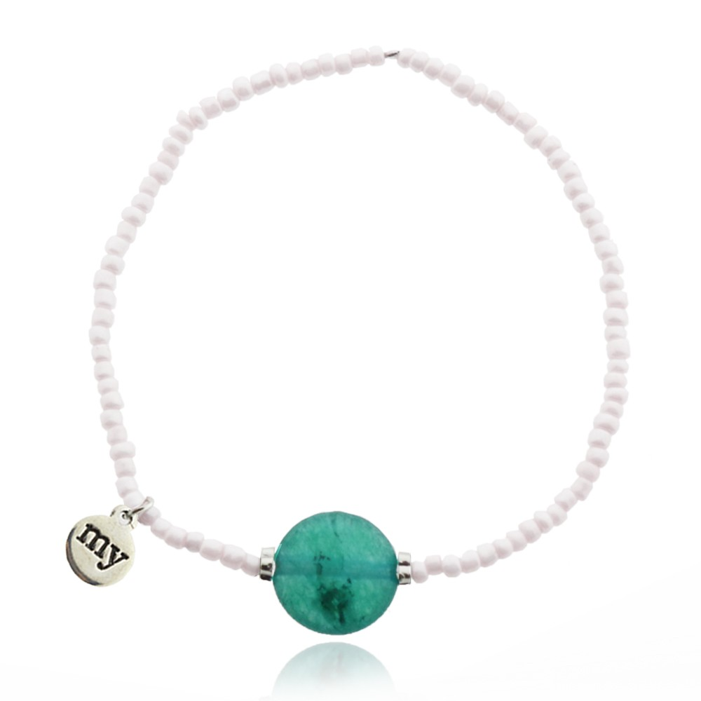 Stone Bead Bracelet - Pearl Green
