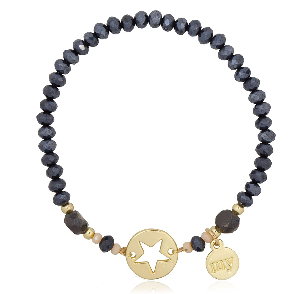 Star Bead Bracelet - Grey