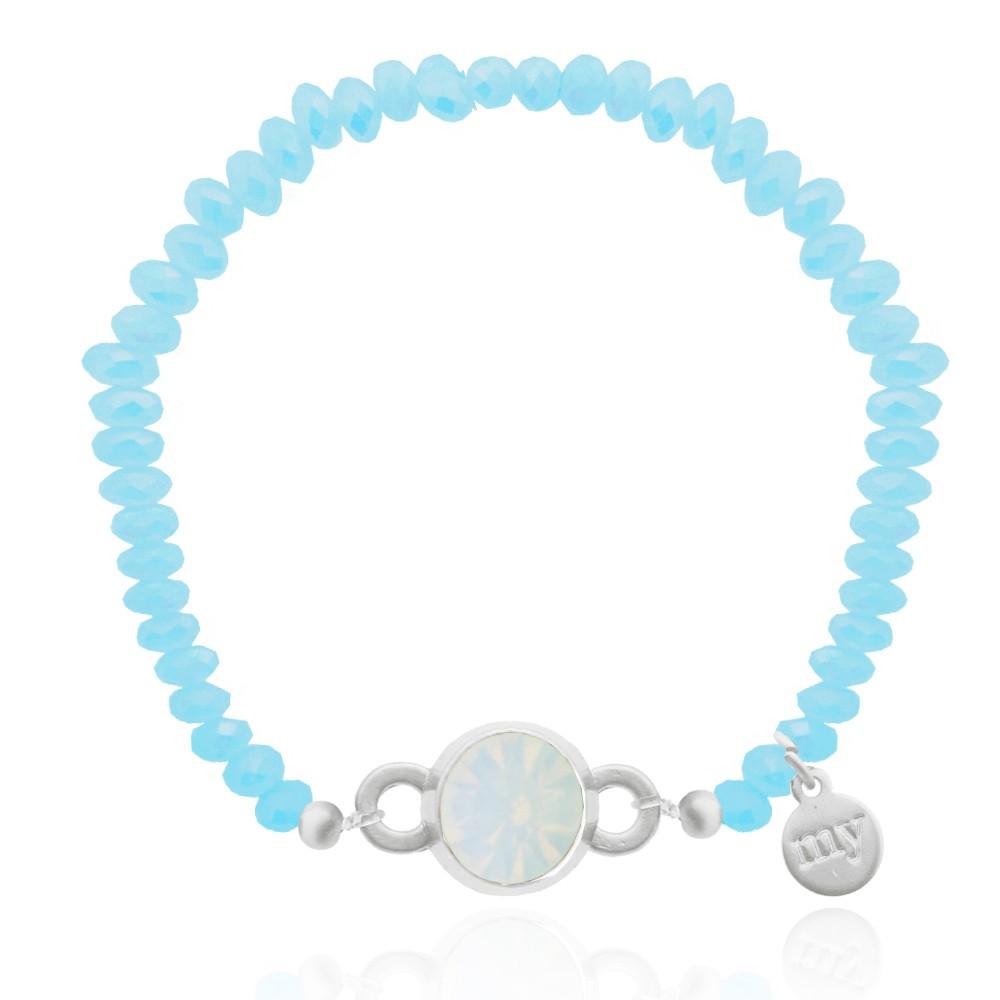 Crystal Aqua Bead Bracelet Gold Silver