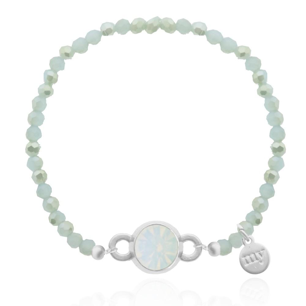 Crystal Light Blue Bead Bracelet - Gold/Silver