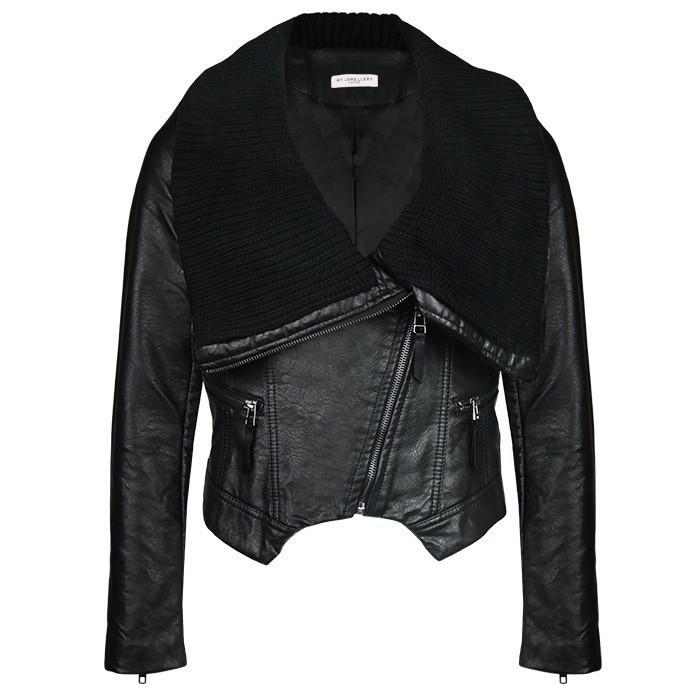 Biker Jacket Collar Black