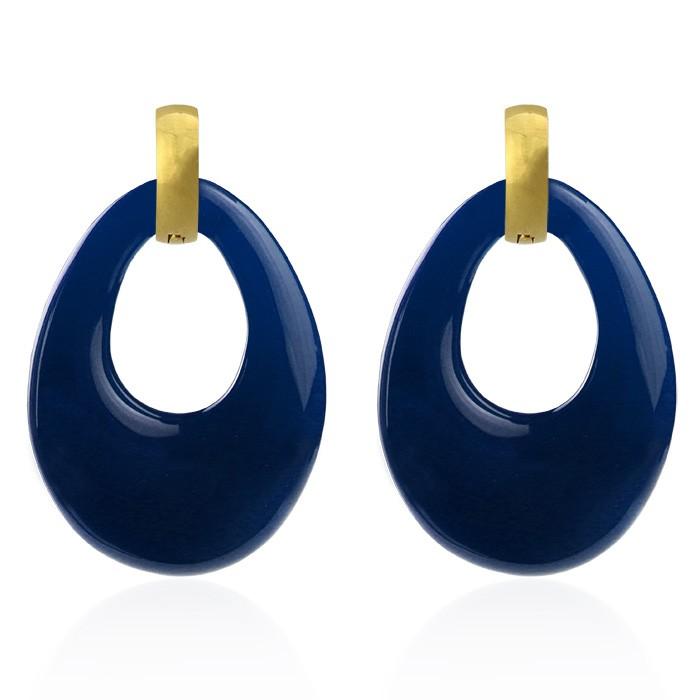 Chique Oval Earrings Dark Blue - Gold/Silver