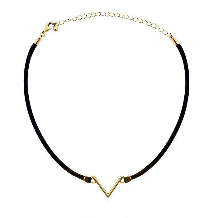 Black Triangle Choker Gold