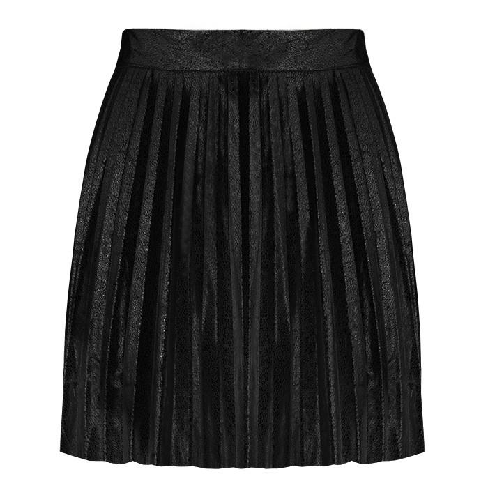 Shiny Plissé Skirt - Black