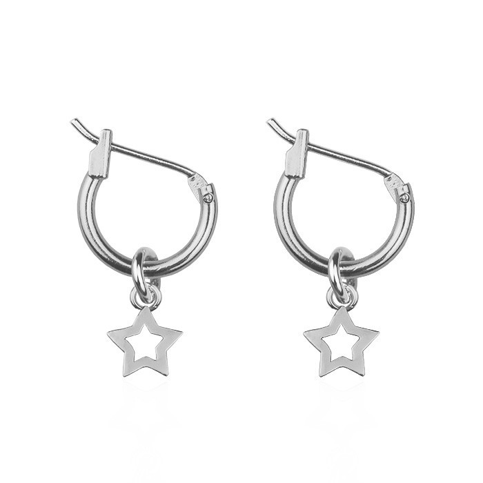 Small Open Star Hoops Gold Silver Rose