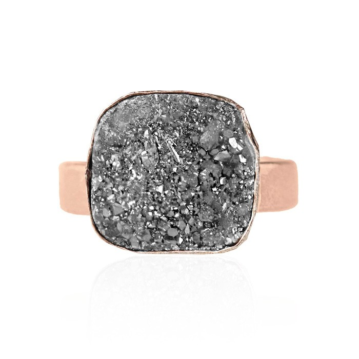 My Jewellery Gold Drizzy Ring - Rose Square Grey