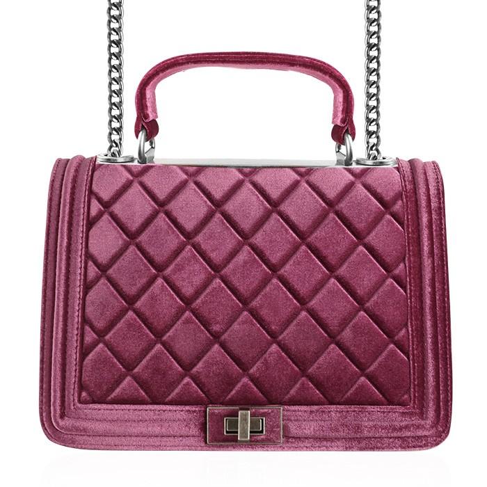 Padded Velvet Bag - Pink