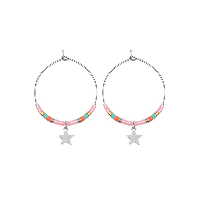 Small Hoops Star & Beads Pink - Gold/Silver/Rose