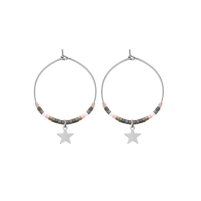 Small Hoops Star & Beads Grey - Gold/Silver/Rose
