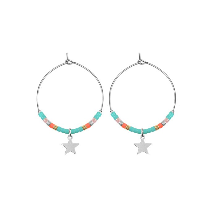 Small Hoops Star & Beads Turquoise - Gold/Silver/Rose
