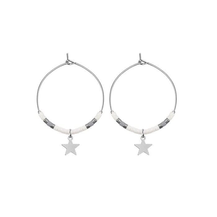 Small Hoops Star & Beads White - Gold/Silver/Rose