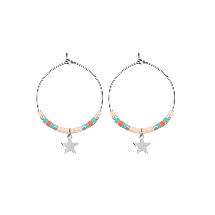 Small Hoops Star & Beads Light Pink - Gold/Silver/Rose