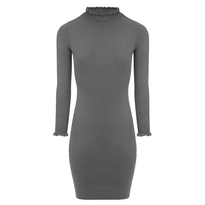 Soft Ruffle Dress Grey