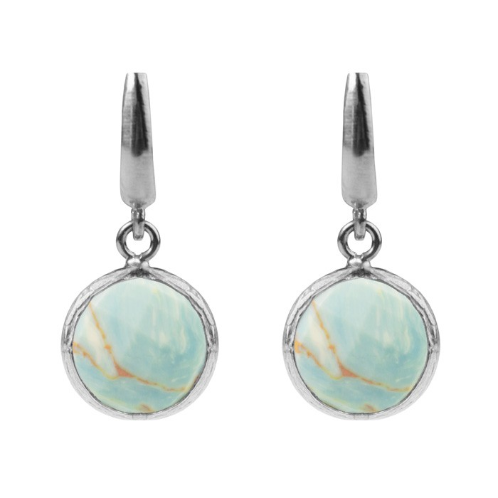 Round Stone Earrings Turquoise Marble Silver Rose