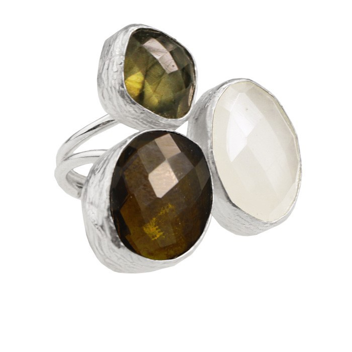 My Jewellery Gold Trio Gem Ring ? Silver White/Brown