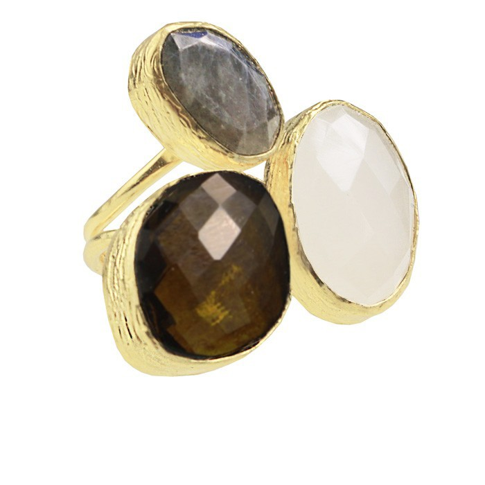 My Jewellery Gold Trio Gem Ring ? Gold Brown/Grey
