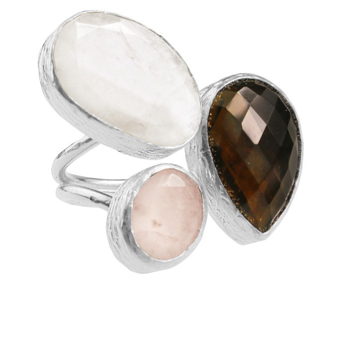 My Jewellery Gold Trio Gem Ring ? Grey/Brown