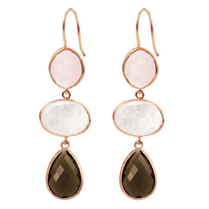 My Jewellery Gold 3 Stone Chandeliers - RoseGrey/Light Pink