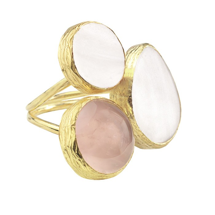 My Jewellery Gold Trio Gem Ring ? Gold White/Taupe