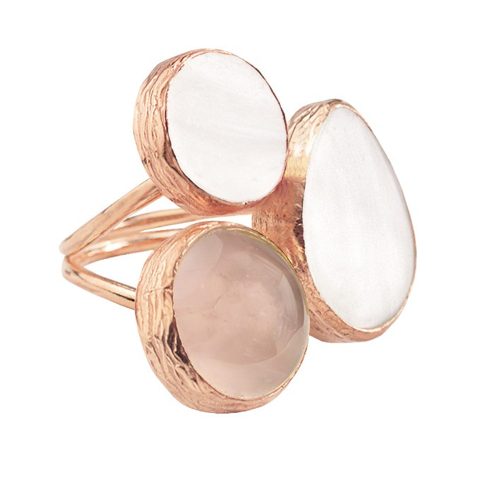 My Jewellery Gold Trio Gem Ring ? Rose White/Taupe