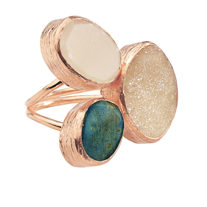 My Jewellery Gold Trio Drizzy Ring – Rose Dark Green/Champagne
