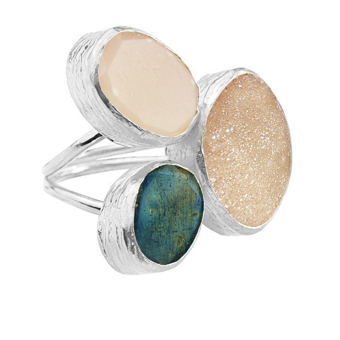 My Jewellery Gold Trio Drizzy Ring ? Silver Dark Green/Champagne