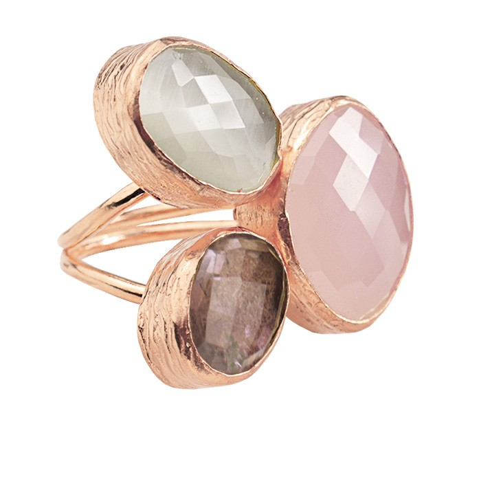 My Jewellery Gold Trio Gem Ring ? Rose Pink/Brown