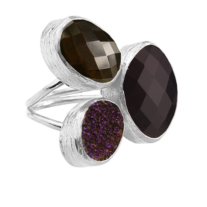 My Jewellery Gold Trio Drizzy Ring ? Silver Black/Purple