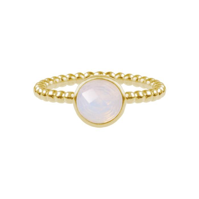 Dot & Stone Ring White - Gold