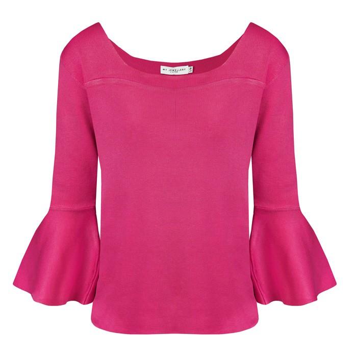 Off Shoulder Flared Top Pink