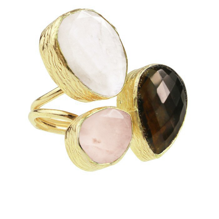 My Jewellery Gold Trio Gem Ring ? Gold White/Brown