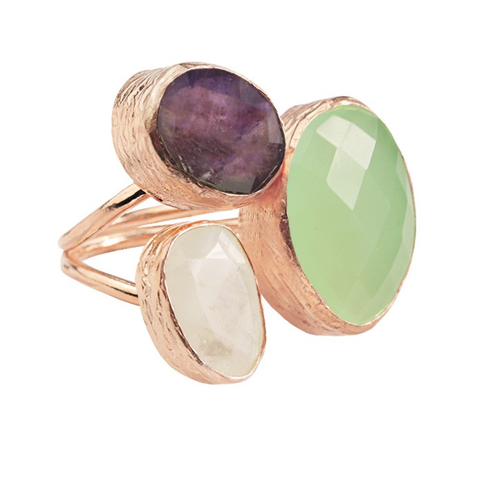 My Jewellery Gold Trio Gem Ring ? Rose Green/Purple