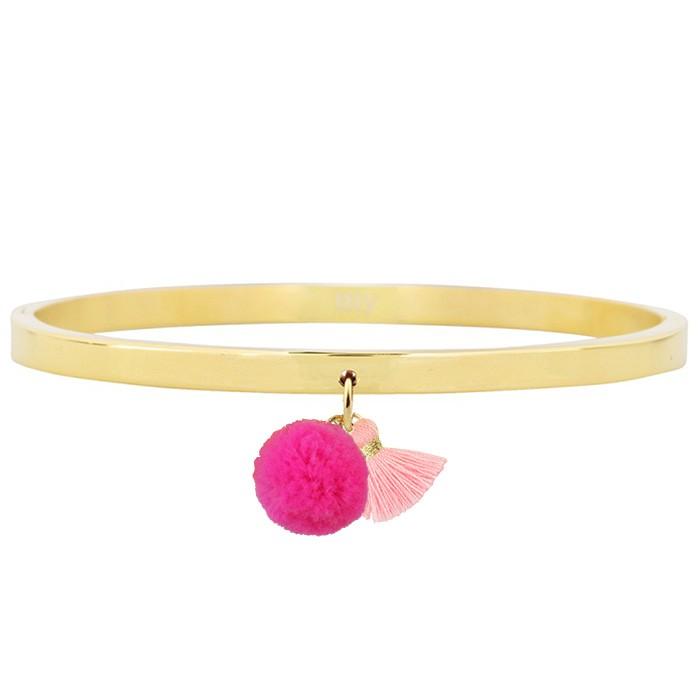 Pompon Tassel Bangle Gold – Pink
