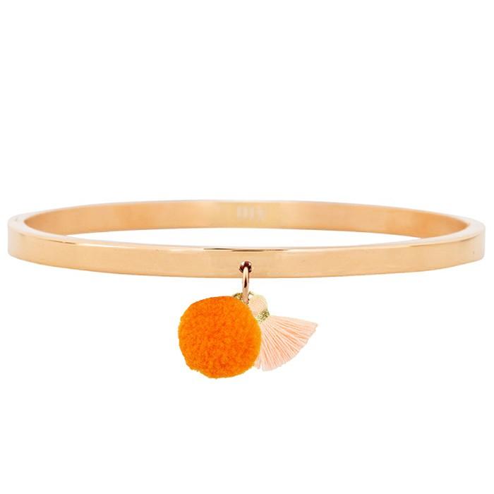 Pompon Tassel Bangle Rose – Orange