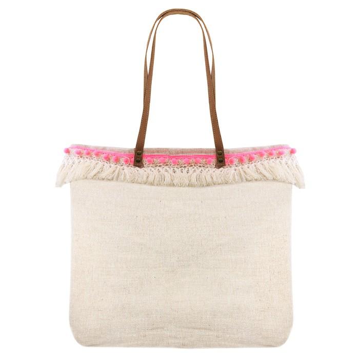 Natural Pompon Bag - Beige thumbnail