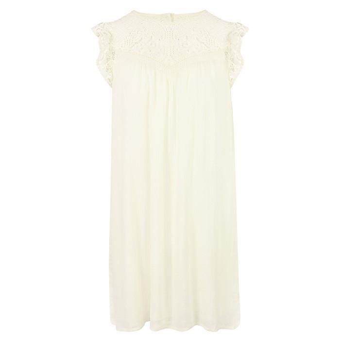 Detailed Ruffle Dress Creme