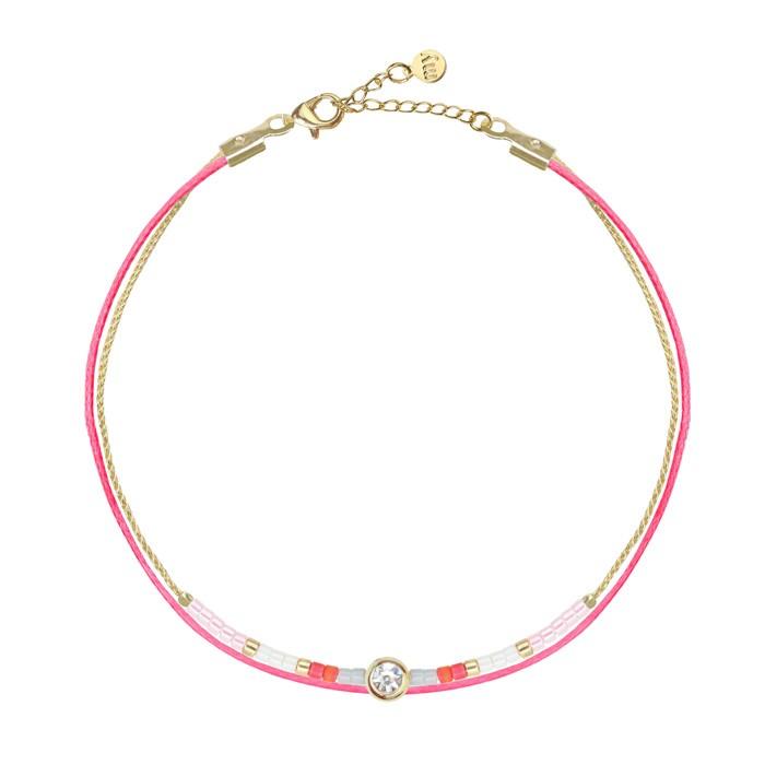 Stone Little Beads Bracelet Pink Gold