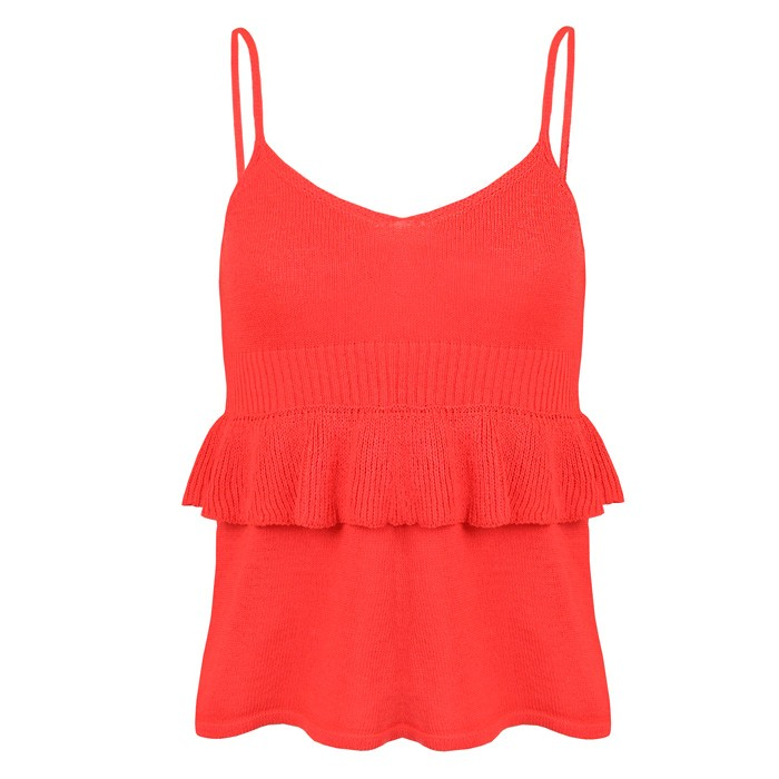 Knitted Ruffle Top Coral