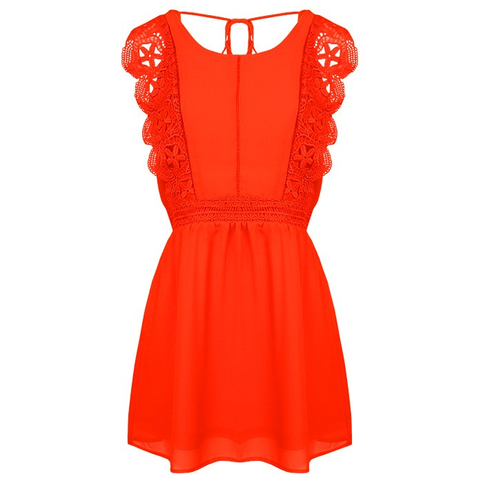 Flower Lace Dress Red
