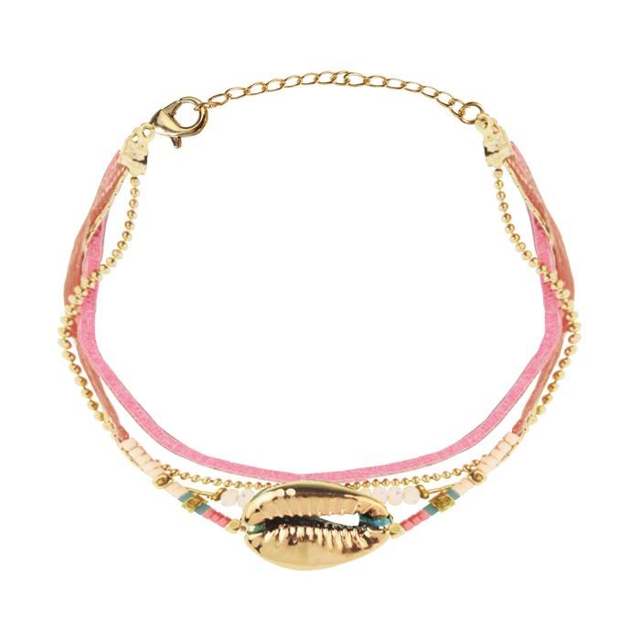 Gold Shell Bracelet Pink