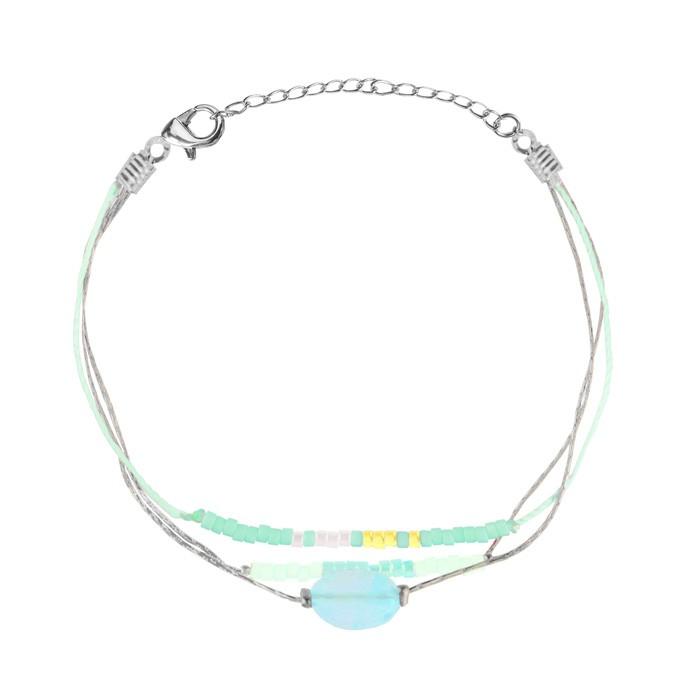 Multicolor Bead Bracelet Silver Mint