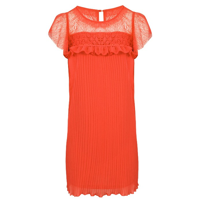 Lace Pleated Dress Red