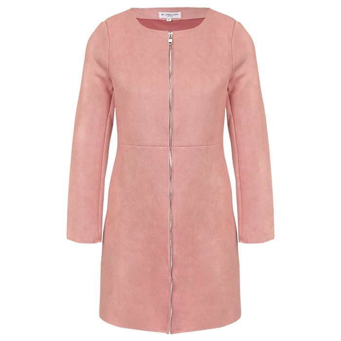 Suedine Long Jacket Old Pink