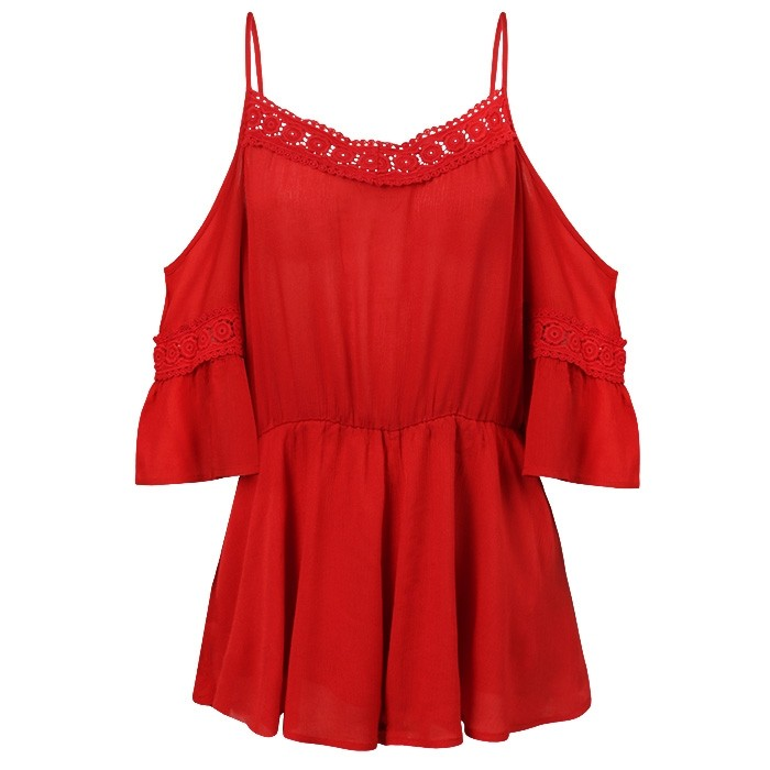 Lace Playsuit Red