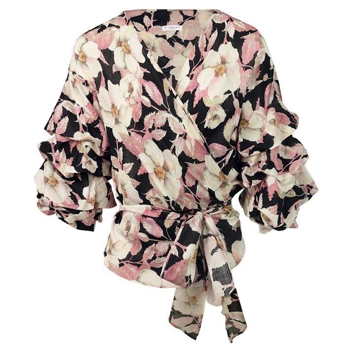 Wrap Tie Flower Blouse Black Pink